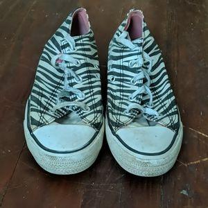 Zebra converse shoes